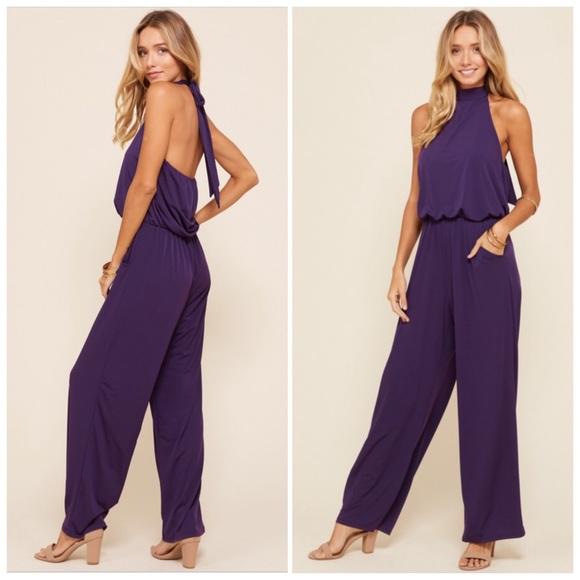 Pants - Purple Halter Wide Leg Jumpsuit S/M/L